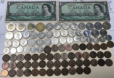 Huge Canadian Coin Collection 100 Pieces Canada