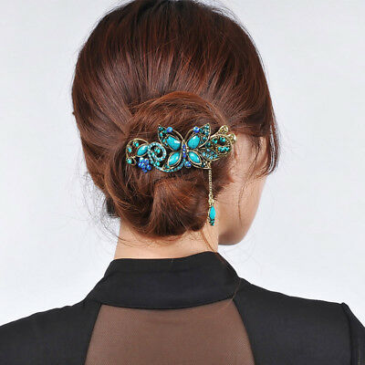 Vintage Chinese Court Style Crystal Butterfly Hair Clips Women Oriental Hairpin