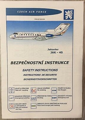 Safety Card YAK 40 der  Czech Air Force extremly megarare