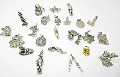Vintage Sterling & 800 Silver Assorted CHARMS Lot- 24 World Travel Unique Charms