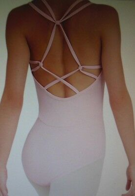 NEW CAPEZIO  Pink strappy crisscross back leotard TB201W frontlined ladies TANK