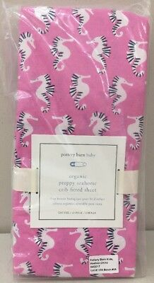 NWT Pottery Barn Kids Baby Pink PREPPY SEAHORSE Organic Cotton Fitted Crib Sheet