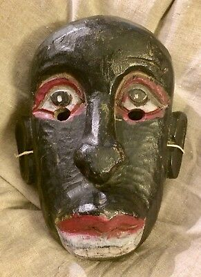 masque bois polychrome Fête des morts Mexique Guerrero 1950 Day of Dead mask