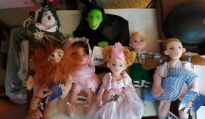 """WB Wizard of Oz Wicked Witch Bean Bag Plush 1998 9"""" lot of 7 1990s  Dorthy lion"""