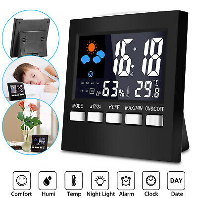 Display LCD Display Thermometer Humidity Colorful Calendar Weather Alarm Clock