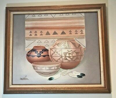 Myung Mario Jung Original Art Sand Oil Painting Framed & Signed Native Pottery
