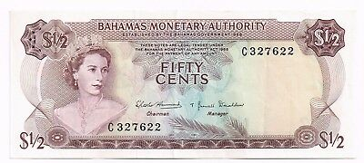 1968 BAHAMAS 1/2 DOLLAR NOTE - p26a