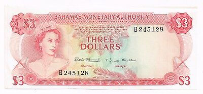 1968 BAHAMAS 3 DOLLARS NOTE - p28a