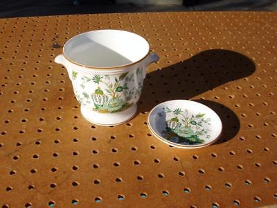 2 Crown Staffordshire England Kowloon Fine Bone China Pieces Coaster + Vase Good