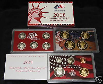 2008-s U.S. SILVER Proof Set.  U.S. Mint Made in Red Mint Box with COA