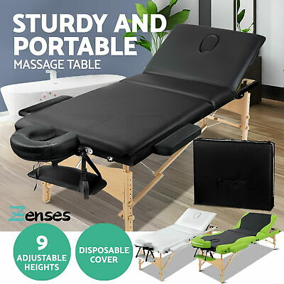 Zenses Wooden Portable Massage Table 3 Fold Beauty Therapy Bed Chair Waxing