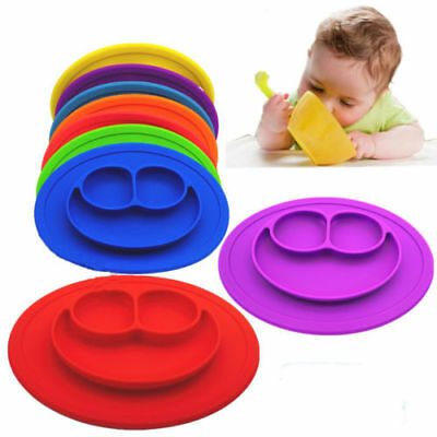 Kids One Piece Silicone Placemat Plate Dish Food Tray Table Mat for Baby Toddle
