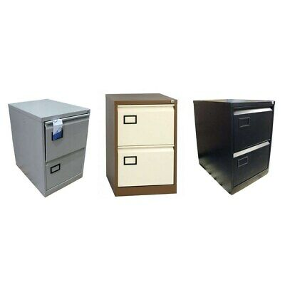 2 Drawer Home Foolscap Metal Office Filing Cabinet Black  Grey Coffee & Cream
