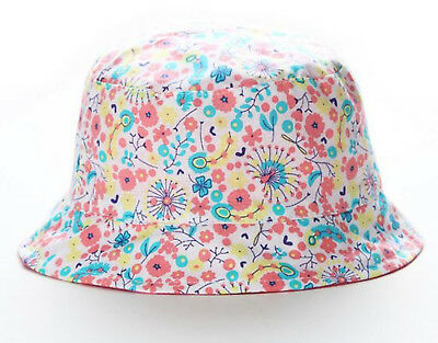 Girl kids Baby Children Beach Travel Cotton Flower Bucket Sun Hat Cap strap
