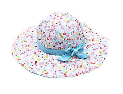 Girl kids Baby Children Beach Travel Cotton Flower wide brim Sun Hat Cap strap