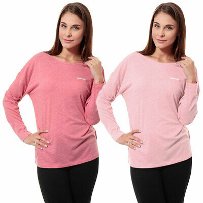 Reebok Women's Classic Fit Long Sleeve Yoga T-Shirt Fitness Gym Lounge Pink Top