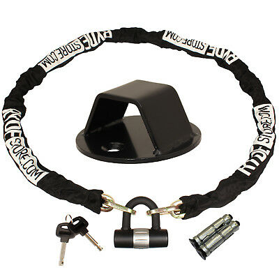 Ryde 1.8M Heavy Duty Motorcycle Chain & D Lock & Black Steel Wall/ground Anchor