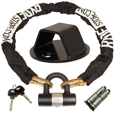 Ryde 1M Heavy Duty Motorcycle Chain & D Lock & Black Steel Wall/Ground Anchor