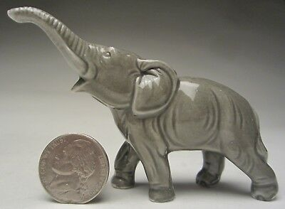 "Antique German Porcelain Miniature Elephant Figurine 2 ½"" tall made 1920-1930's"