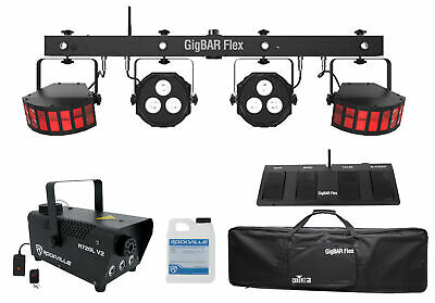 Chauvet DJ GigBAR Flex (2) Derby+(2) Par Can Lights+Footswitch+Fogger w/ LED's
