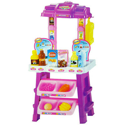 Kids Supermarket Shop Grocery Pretend Toy Trolley Playset Play Gift Educational