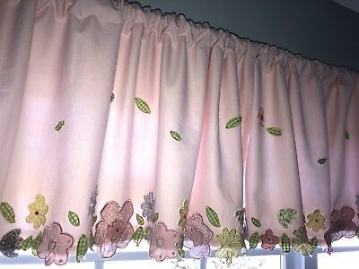 pottery barn kids pink 3d floral fully lined 100 cotton curtain valance - Pottery Barn Kids Curtains