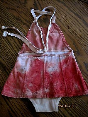 VINTAGE 1950s-60s One Piece Little Girls Pink Tie-Die Swimsuit Play Suit Sz 1-2