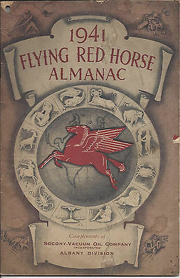 1941 Flying Red Horse Almanac,compliments Of Socony-Vacuum Oil Co. Albany Div.