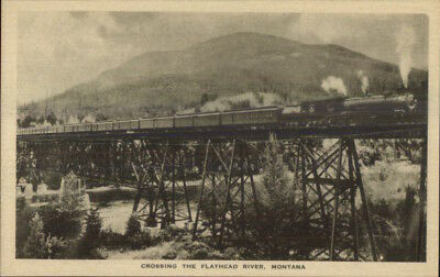 Scenes Along Great Northern GN RR Train c1920s Postcard Flathead River MT
