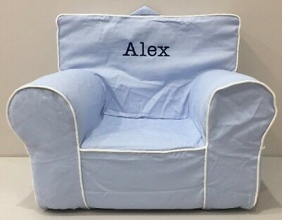 NEW Pottery Barn Kids Blue w/Piping MY FIRST ANYWHERE CHAIR w/Cover Mono *Alex