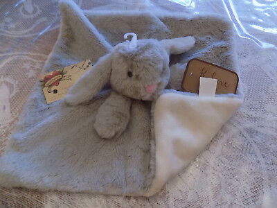 Security Blanket K Luxe Kelly Gray Bunny Rabbit Super Furry Pink Nose Cream Bac
