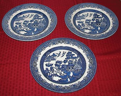 "(3) Churchill England Willow Blue (Georgian) 10 3/8"" Large Dinner Plates VGOOD"