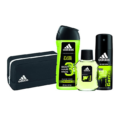 Adidas Mens Gift Set Pure Game 4 Piece Bag Cologne Body Spray 3 in 1 Wash NEW