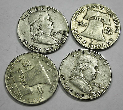 1948-p Franklin Half Dollar. Average Grade of Coin You Receive is Photographed