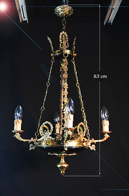 Stunning vintage 1950s French Empire style four–arm candle light chandelier