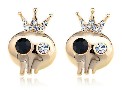 Brass Colored Royal Emperor Skull Cartoon Crystal Rhinestone Element Earrings