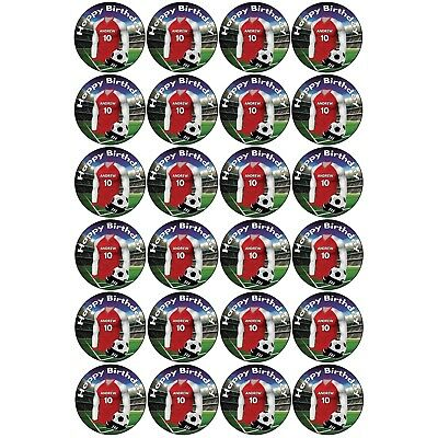 Personalised Football BIRTHDAY Cup Cake Stand Up Toppers - Arsenal Colours