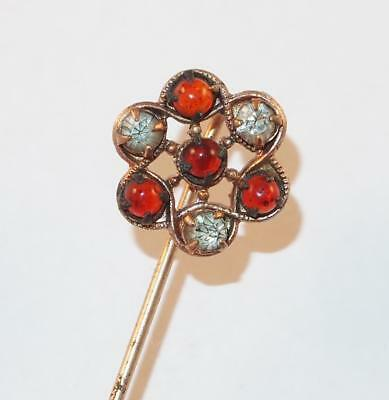 Antique Victorian Rose Goldtone Amber Glass &clear Stones Stick Pin Lapel Pin