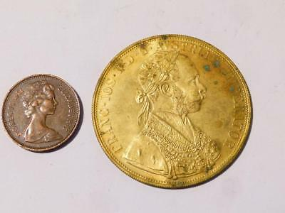 Austria 1915 4 Ducat Gold Plated Token Gaming Coin 40mm  11g  #C20