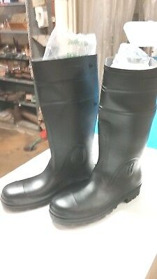 "New ""star"" Size 10 - Black General Purpose Pvc Knee Boots - N2746 - Usa Made"