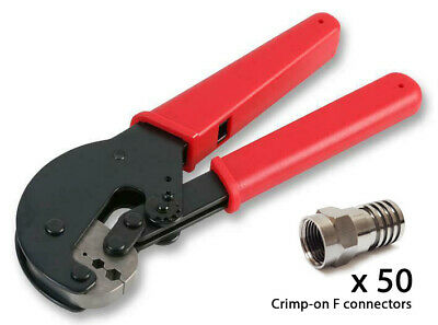 Crimping tool with F crimp-on connectors CT WF100 RG6 sat cable SKY TV aerial
