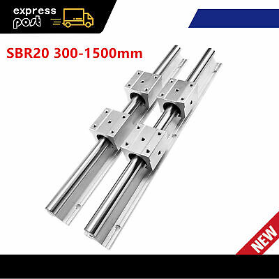 2Pcs SBR20 Fully Supported Linear Rails 300-1500mm Shaft Rod with 4Pcs SBR20UU