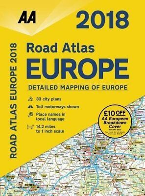 AA Road Atlas Europe 2018 AA Road Atlas by AA Publishing Spiral-bound BRAND NEW
