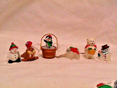 Lot 6 Vtg 80s 90s Hallmark CHRISTMAS Merry Miniatures IGLOO Snowmen Walrus Polar