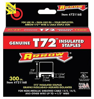 """Arrow Fastener Insulated T72 Staples 31/64"""" 300 Pack for Wire Cable 721168 USA"""