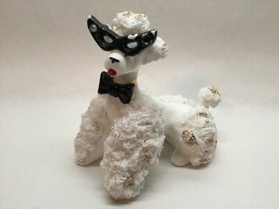 Vintage Spaghetti Poodle Figurine with Glasses White Bow tie