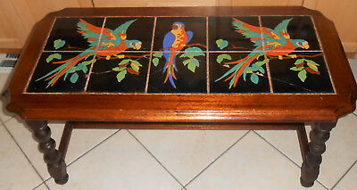 Vintage 1930's California Catalina Taylor Pottery 10-Tile 3 Parrot Table