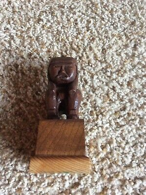 VINTAGE HAND CARVED WOODEN INDIAN Figure--FOLK ART IDOL L@@K CHIEF
