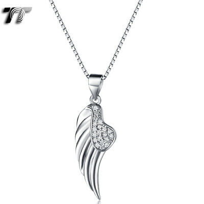TT RHODIUM 925 Sterling Silver Angel Wing Pendant Necklace (925N09) NEW