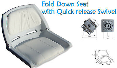 Fold down Boat Seat Boat Folding Molded Fishing Seat with quick Release Swivel